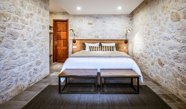 Topas Ecolodge suite bungalow bedroom, bed, modern decor