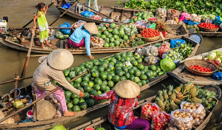 Fruit sellers on the Mekong River Delta, selling fruit from boats, watermelons, pineapples, tomatoes