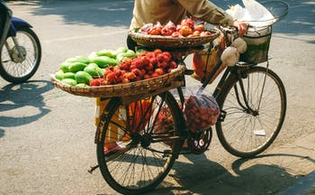 Street seller selling fruit, lychees, mangoes, on a bike in the Old Quarter of Hanoi