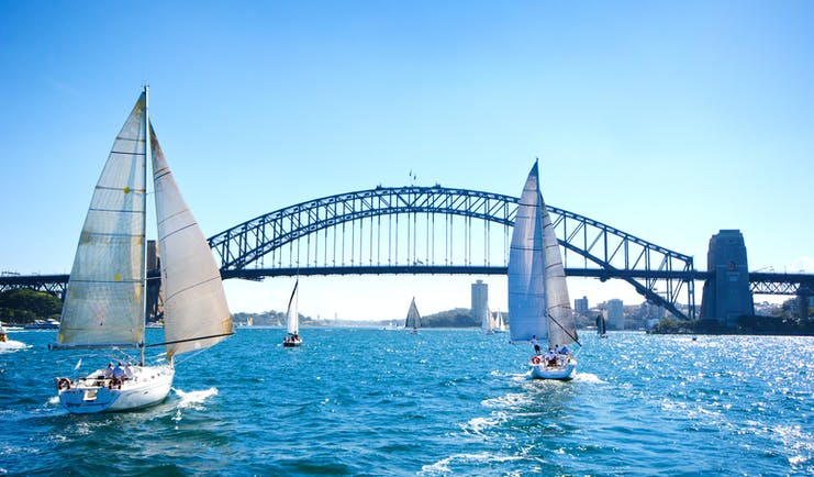 Boats on Sydney Harbour, blue skies