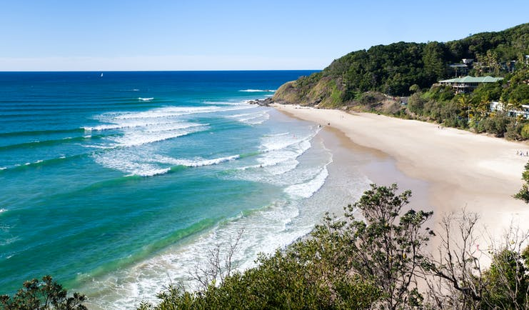 Byron Bay beach in Australia sand cliffs and sea