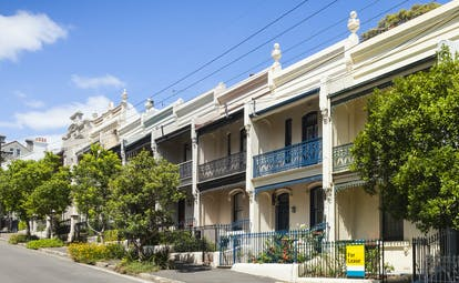 Houses and residential street in Sydney, terraced houses