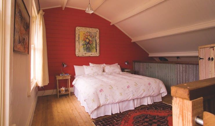 Old Leura Dairy New South Wales Buttercup Barn mezzanine loft bedroom with flower painting