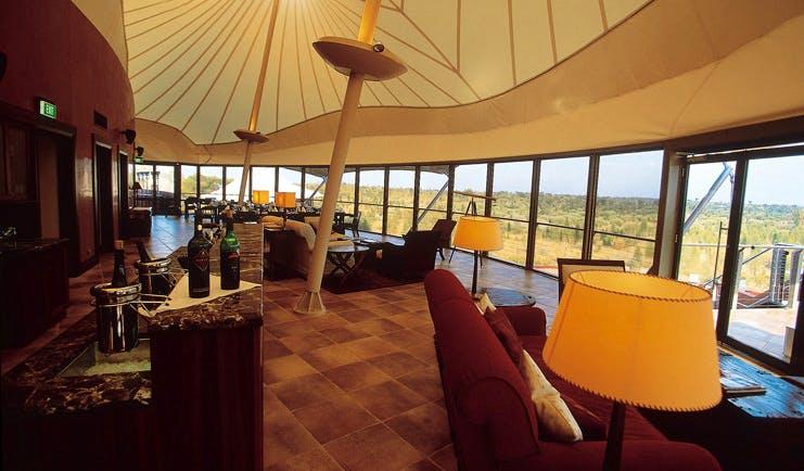 Longitude 131 Ayers Rock dune lounge indoor canopied seating area with panoramic windows
