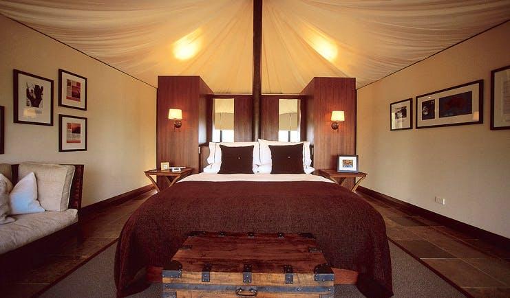 Longitude 131 Ayers Rock tent interior bedroom and sofa