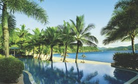 Beach Club Hamilton infinity pool, palm trees, beach
