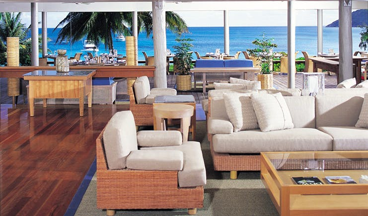 Lizard Island Queensland lounge area with sofas and sea view