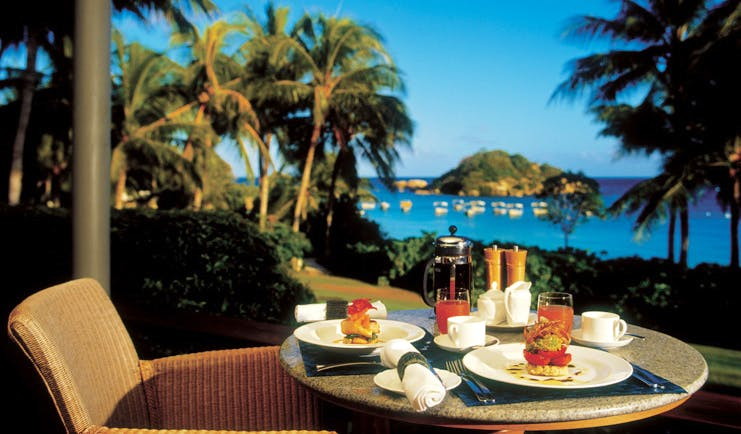 Lizard Island Queensland outdoor dining with sea view