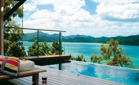 Qualia Hamilton Island Queensland pool with lounge area and sea view