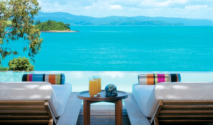 Qualia Hamilton Island Queensland sea view two sun loungers overlooking sea