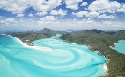 Panoramic shot of the Whitsunday Islands, sea, island coastlines