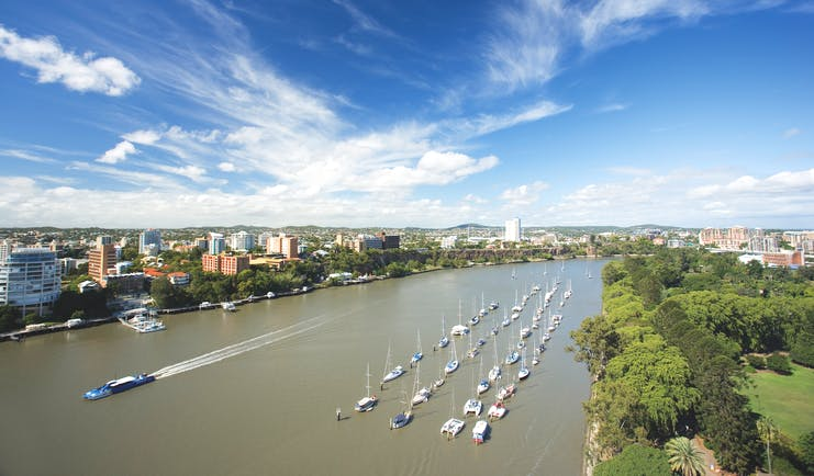 Stamford Plaza Brisbane Queensland river view aerial view of river with boats