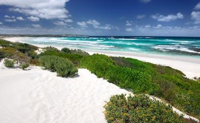Beach on Kangaroo Island in Australia, white sand blue seas