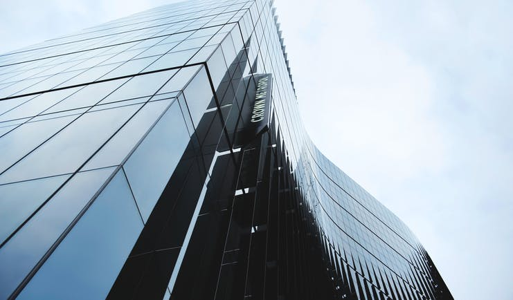Exterior of the Crown Metropol looking up into the sky