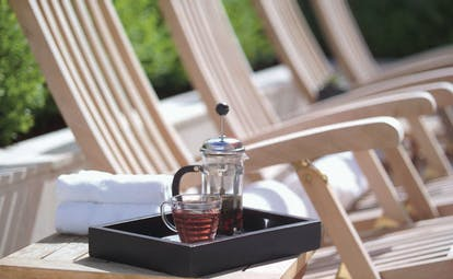 The Lyall Hotel Melbourne terrace lounger sun lounger with tea