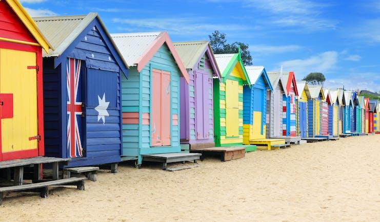 Colourful beach huts on Brighton Beach in Melbourne, Australia