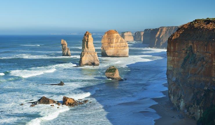 Twelve Apostles limestone stacks in the Victoria region of Australia
