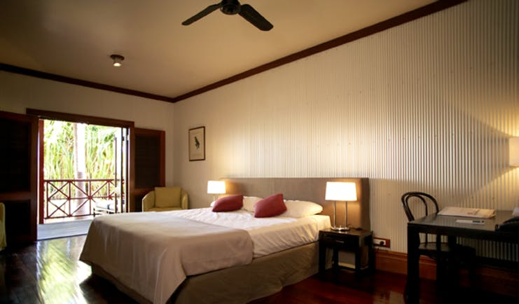 Cable Beach Club studio room, double bed, desk, access to balcony, traditional decor
