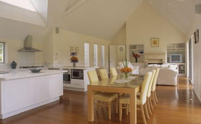 Cape Lodge Western Australia dining room open plan kitchen dining and lounge area