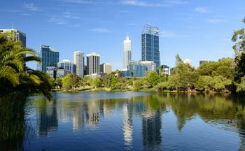 City skyline across the river of Perth, Australia