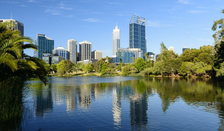City skyline across the river of Perth, Australia