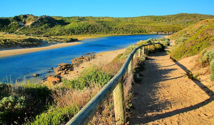 Delta of the Margaret River in Western Australia, river, rural landscape