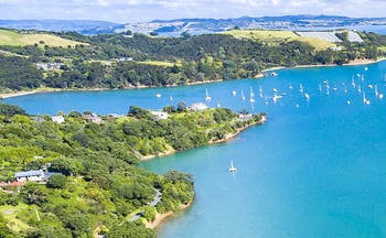 Wide estuary with blue sea and boats at Auckland NZ