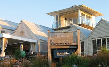 The Boatshed Waiheke Island Auckland exterior white building with patio