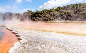 Blue orange and white colours of thermal springs in central north island