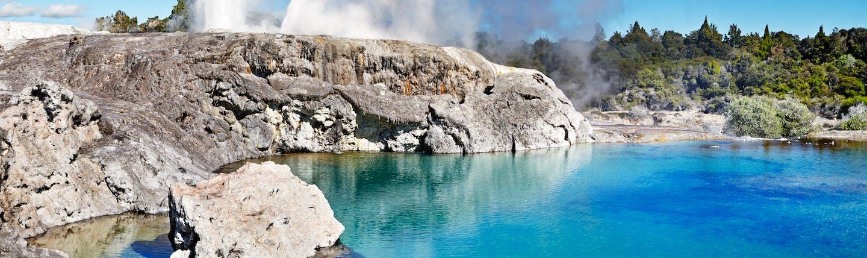 Pohutu Geyser in Rotorua in New Zealand's North Island hot spring erupting