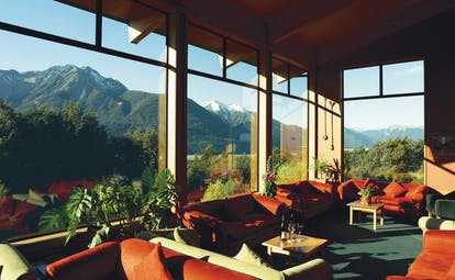 Wilderness Lodge at Nelsons Pass Central South Island views lounge area with panoramic mountain view