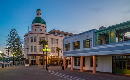 Napier in New Zealand, street in centre of town, art deco architecture