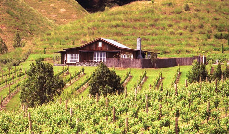 The Black Barn Hawkes Bay exterior vineyard wooden barn lodge overlooking vineyard