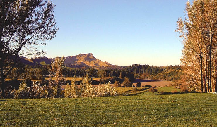 River Houses Hawkes Bay landscape overlooked by mountain
