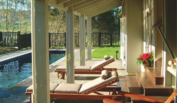 River Houses Hawkes Bay private pool with sun loungers