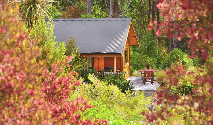 The Resurgence ecoLodge Nelson Abel and Tasman exterior wooden chalet with outdoor seating area in a forest