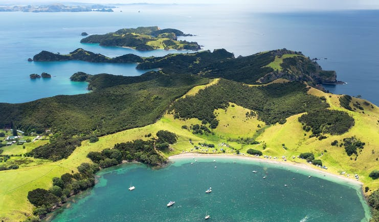 Aerial shot over the Bay of Islands