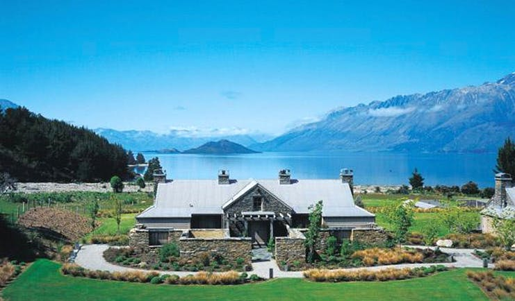 Blanket Bay Otago and Fiordland chalet lodge and gardens overlooking lake and mountains