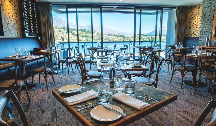 The Rees Hotel Otago and Fiordland dining room with panoramic lake and mountain view