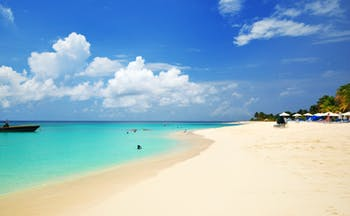 Shoal Bay in Anguilla, white sand beach, clear blue ocean