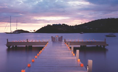 Carlisle Bay Antigua candlelit dinner by night on jetty overlooking the ocean