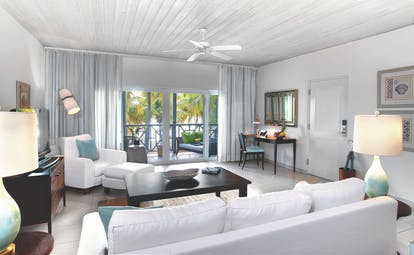 Carlisle Bay Antigua ocean suite living area with balcony
