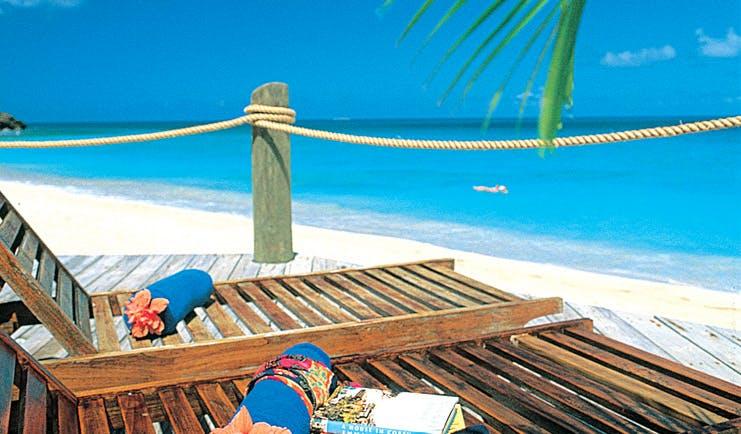 Galley Bay Antigua beach terrace sun loungers overlooking sea