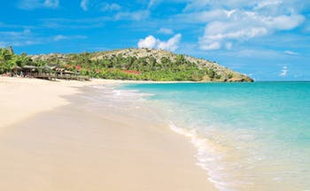 Galley Bay Antigua beach white sand clear blue ocean natural landscape