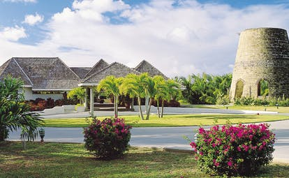 Galley Bay Antigua entrance hotel driveway lawns architecture