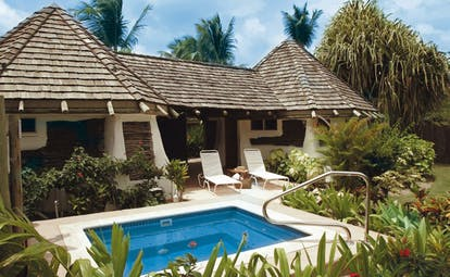 Galley Bay Antigua gauguin suite private pool sun loungers garden greenery