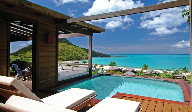 Hermitage Bay Antigua Hillside Cottage plunge pool overlooking the ocean