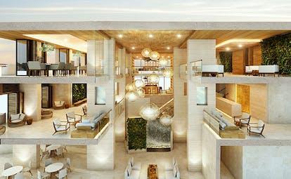 Hodges Bay Resort atrium, many levels to sit, bright modern decor