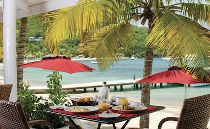 Inn at English Harbour Antigua breakfast outdoor dining area on the beach