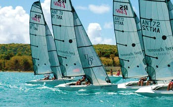 Nonsuch Bay Antigua sailing five boats on the water